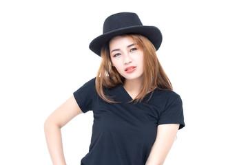 Asian woman in black t-shirt