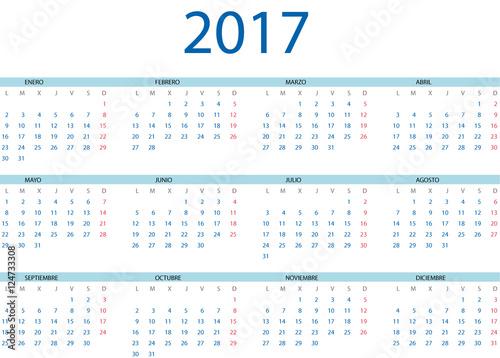 Calendario Vectorizado.Calendario 2017 En Espanol Stock Image And Royalty Free