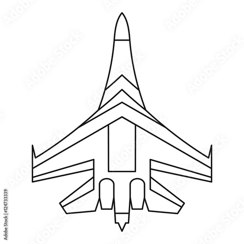 Jet Fighter Plane Icon Outline Illustration Of Fighter Plane Vector