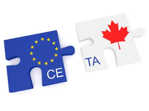 CETA: EU and Canada Flag Puzzle Pieces, 3d illustration