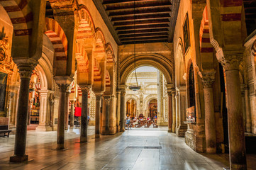 Cordoba, Spain - July 29, 2016, The Cathedral Mesquite. Moorish architecture interior of the Mesquite.