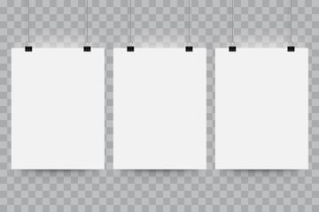 Poster paper mockup. Vector blank billboard hanging