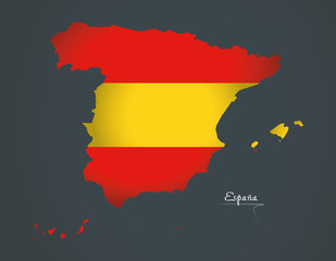 Spain map special artwork style with flag illustration