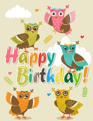 Owlet Baby. Cute Owl Set Isolated Vector. Cheerful Birds, Forest Birds, Playful Birds, Flying Birds. Happy Birthday Card With Funny Owl.