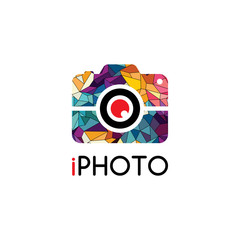 Abstract colorful triangle geometrical photography logo