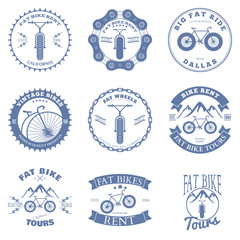 Fat Bike Rent Badges and Labels Design Elements. Vector