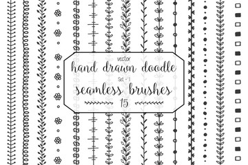 Set of hand drawn doodle seamless decorative brushes for dividers, borders, ornaments, frames, borders and design elements isolated on white background. Vector brushes are included in the brush panel.