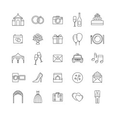 Wedding vector line icons set. Outline icons.