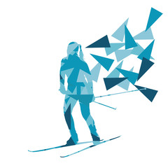 Female woman skiing vector background winter abstract sport illu
