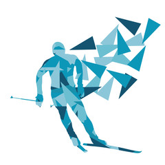 Skiing man vector background abstract illustration concept made