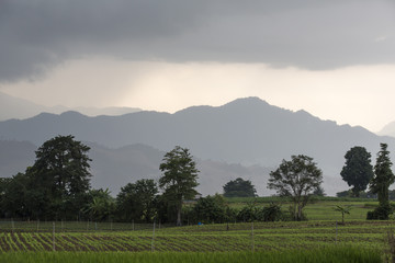 Farmland mountain atmosphere before rain at Mae Sot, Tak, Thailand