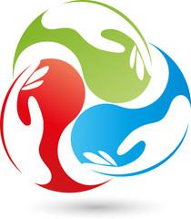 Drei Hände, Helfer, Team, Logo