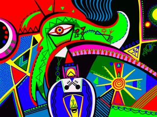 original abstract digital contemporary art vibrant colorful geom