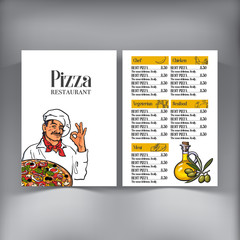 Italian chef pizza menu design, vector template with sketch style illustrations. Pizza cafe, restaurant menu design with Italian chef serving freshly baked pizza, and olive oil