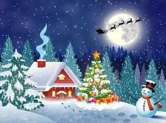 Photo sur Plexiglas house in snowy Christmas landscape at night