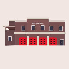 Vector flat illustration of fire station