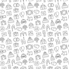 Wedding background. Seamless pattern of wedding object. Cartoon wedding symbols. Outline icons, black and white.