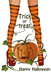 Halloween design. Sexy witch legs in striped stockings. Trick or treat. Happy Halloween