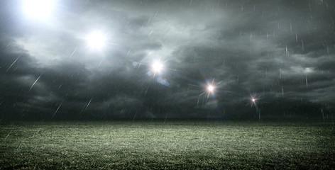 stadium dark night raining 3d rendering