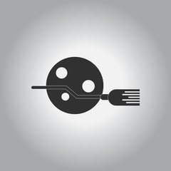 black and white Vector illustration in flat design Halloween icon broom and moon