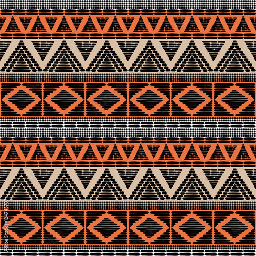 Tribal pattern vector seamless African print with in ethnic colors Awesome African Pattern