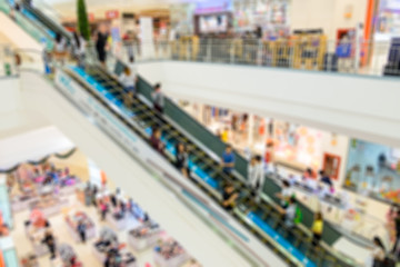 Blurred escalator in in department store with people crowded