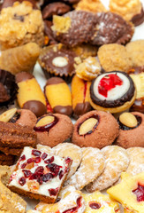 Czech traditional homemade sweets (Linzer, vanilla crescents, cupcakes and gingerbread) for festive occasions as a Christmas, birthday, easter, Valentine day
