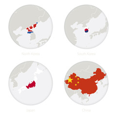North Korea, South Korea, Japan, China map contour and national flag in a circle. Vector Illustration.