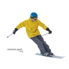 Skier on slope vector illustration. Skiing design elements isolated on white background. Winter entertainments, outdoor activity and sport. Extreme slalom.