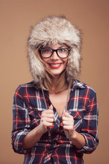 Portrait of beautiful girl with the winter hat on.