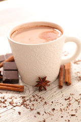 Foto op Plexiglas Chocolade hot milk with chocolate and spice