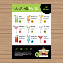Cocktail menu design. Alcohol drinks. A4 size and flyer layout template. Cover bar menu brochure with modern graphic. Vector illustration.