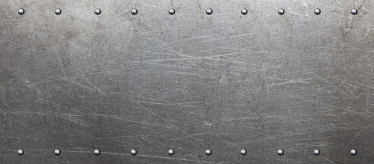 Foto auf Leinwand Metall Steel plate with rivets