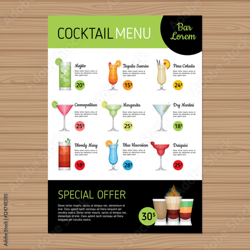 Cocktail Menu Design Alcohol Drinks A Size And Flyer Layout - Menu layout templates free