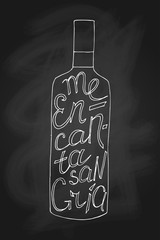 Vector illustration. Hand-drawn bottle with phrase on it I like sangria
