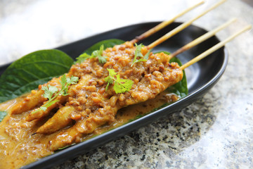 Chicken Satay in close up , Asian food