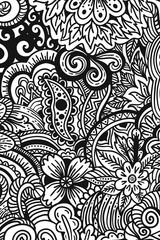 monochrome vertical banner painted in patterns floral, zentangle and Doodle
