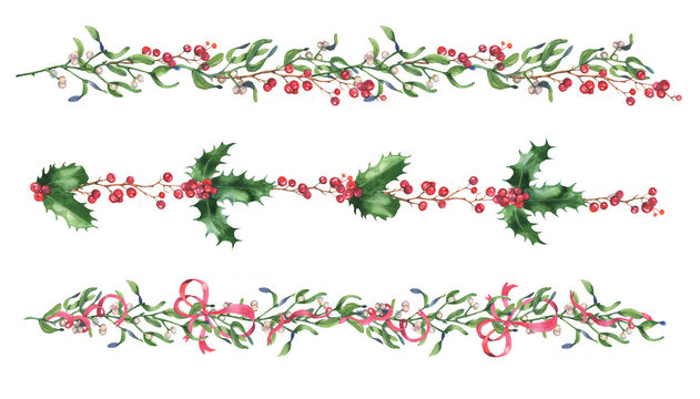 Hand-drawn watercolor Christmas mistletoe branches, leaves, holly and berries isolated on the white background. Set of the decorative ornamental borders holiday decorations