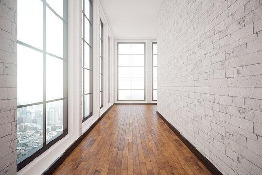 White brick corridor interior