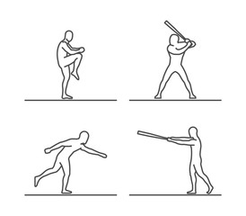 Line silhouettes of baseball.