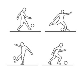 Line silhouettes of soccer.