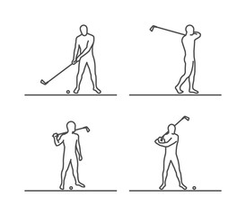Line silhouettes of golf.
