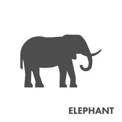 Black vector figure of elephant.