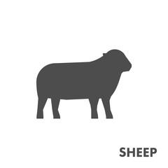 Black vector figure of sheep.