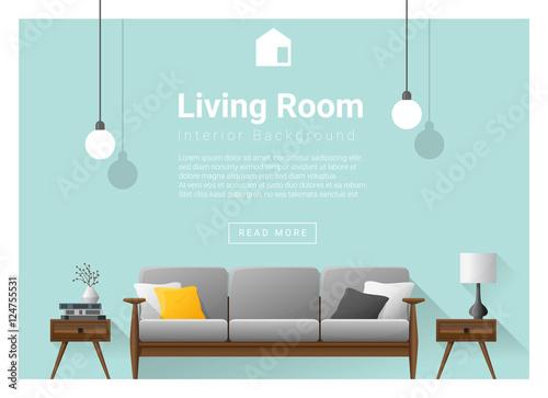 Modern Living Room Interior Background Vector