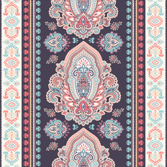 Beautiful Indian floral paisley seamless ornament print. Ethnic