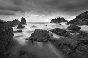 Beautiful Seascape, Ocean and Rocks Black and White Image.