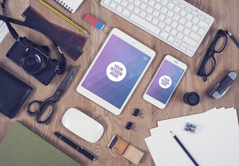 Tablet and Smartphone Close Up on Wooden Desk with Camera and Drawing Paper Mockup 2