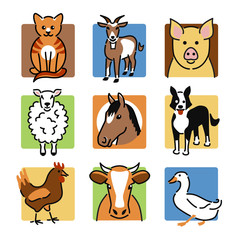 Nine popular farm and pet animals as colour icons