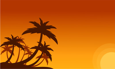 Silhouette of clump palm trees scenery